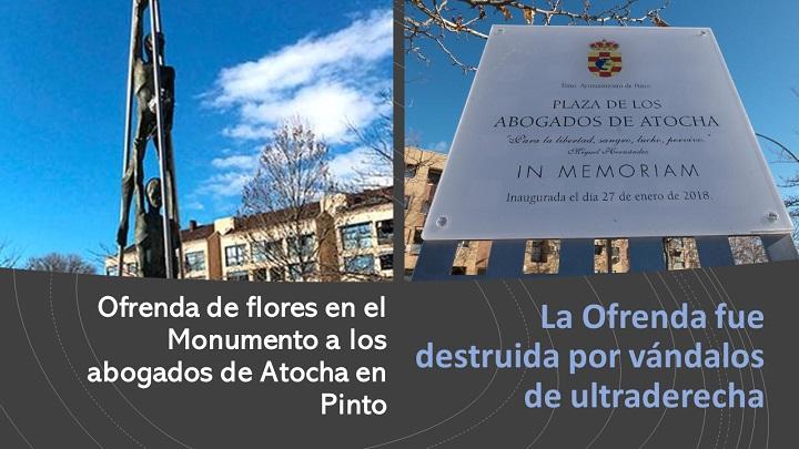 Ofrenda en el Monumento a los abogados de Atocha
